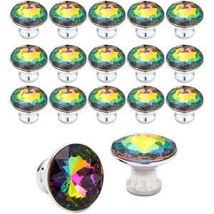 Knobs for Dresser Drawers, Multicolor Glass Cabinet Pull Knobs (1.1 in, 16 Pack)