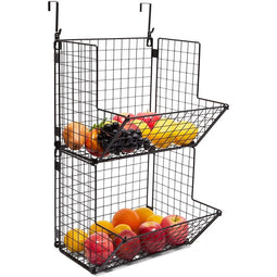 Farmlyn Creek 2 Tier Hanging Fruit Basket for Kitchen Storage (11.7 x 12 x 21 in, 2 Pack)