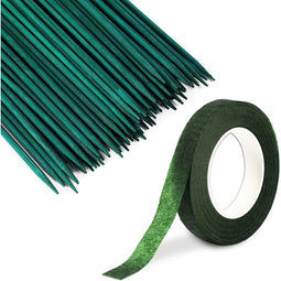 100 Bamboo Garden Stakes with 25 Yards Flower Tape (Green, 101 Pieces)