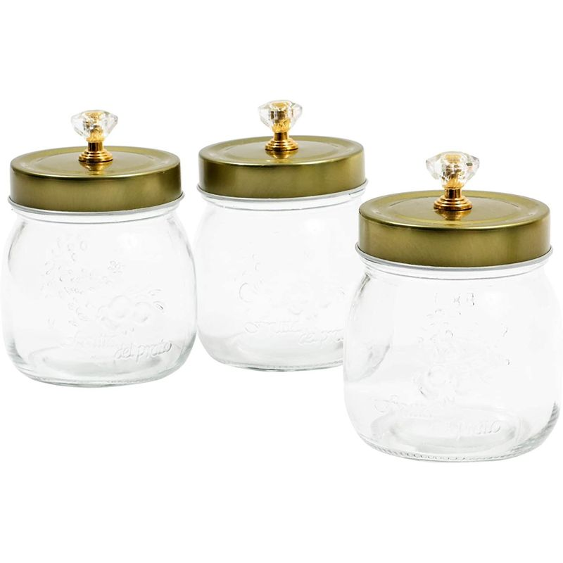Glass Vanity Canisters with Gold Lids, Mason Jar Bathroom Set (3 Pack)