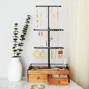 Farmlyn Creek Wooden Tiered Jewelry Display Stand with Drawers (9.6 x 17.5 x 4.5 Inches)