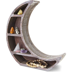 Wooden Shelf Display for Home Decor, Crescent Moon (10 x 10.2 x 2 In)