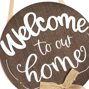 Farmlyn Creek Burlap and Wood Hanging Sign, Welcome to Our Home (11.75 x 11.75 Inches)