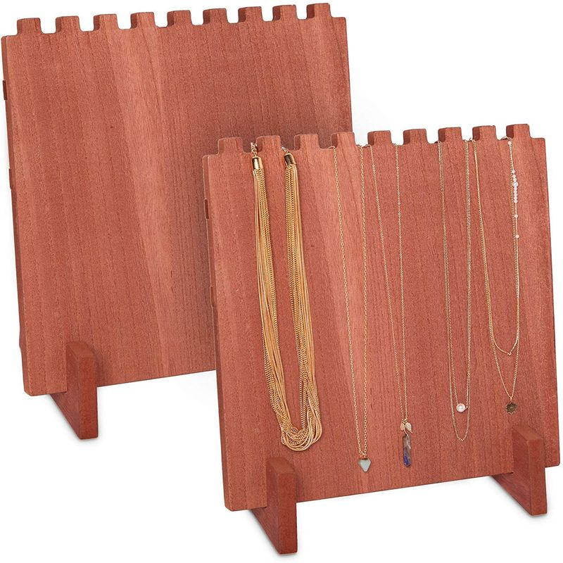 Wood Necklace Display Stand, Jewelry Organizer (9 x 10 x 5.5 In, 2 Pack)