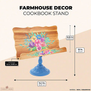 Wood Cookbook and iPad Holder Stand, Blue Metal Base for Kitchen (14.1 x 13 In)