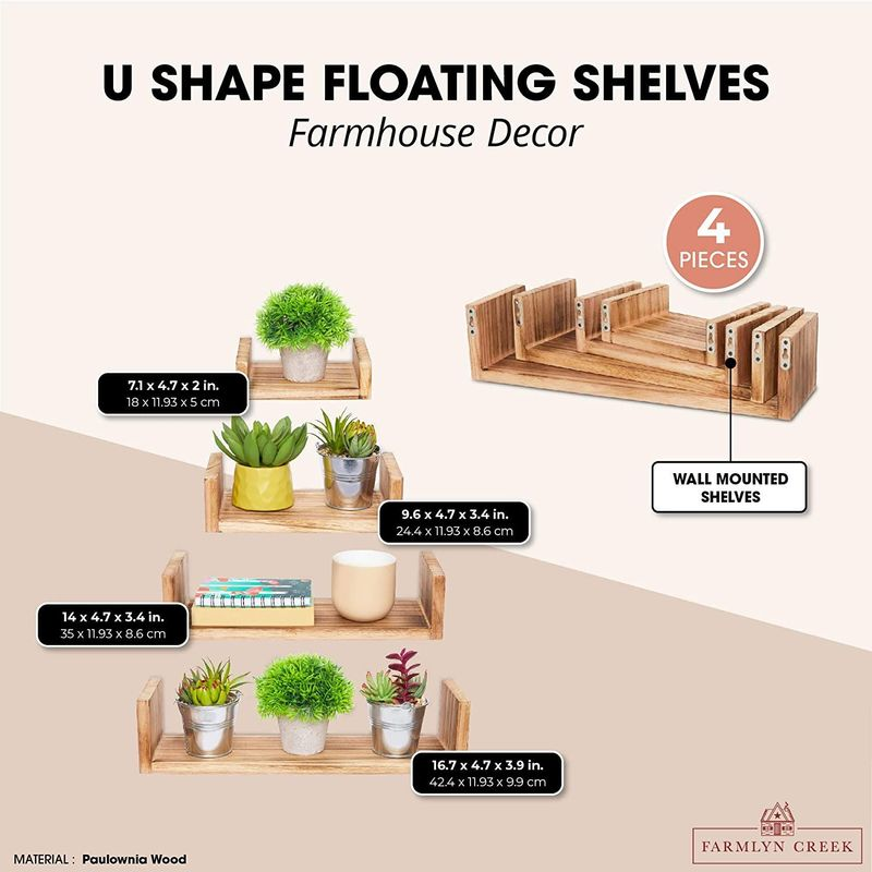 Floating Shelves, U Shaped, Wall Mounted Farmhouse Decor (4 Sizes, 4 Pack)