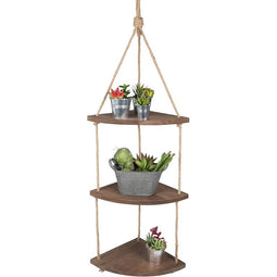 3 Tier Wood Hanging Corner Shelf with Jute Rope (42 Inches)