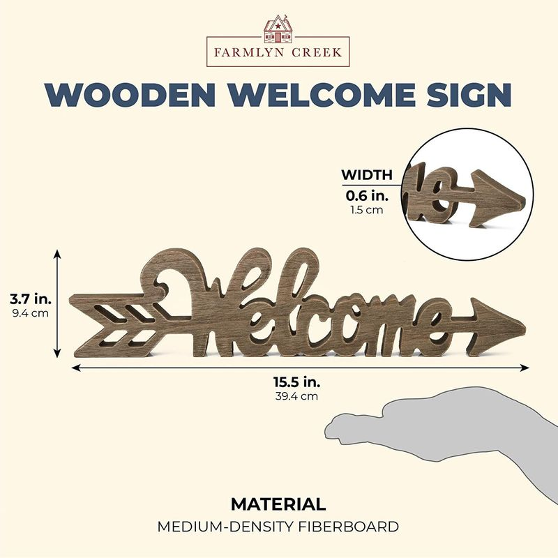 Farmlyn Creek Wooden Welcome Sign, Wood Arrow (15.5 x 3.7 x 0.6 in)