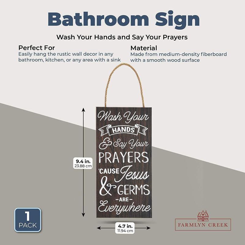 Farmlyn Creek Bathroom Sign, Wash Your Hands and Say Your Prayers (4.7 x 9.4 in)