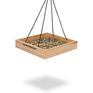 Hanging Wooden Bird Feeder for Patio, Garden, Yard (12 x 12 x 2.2 in)