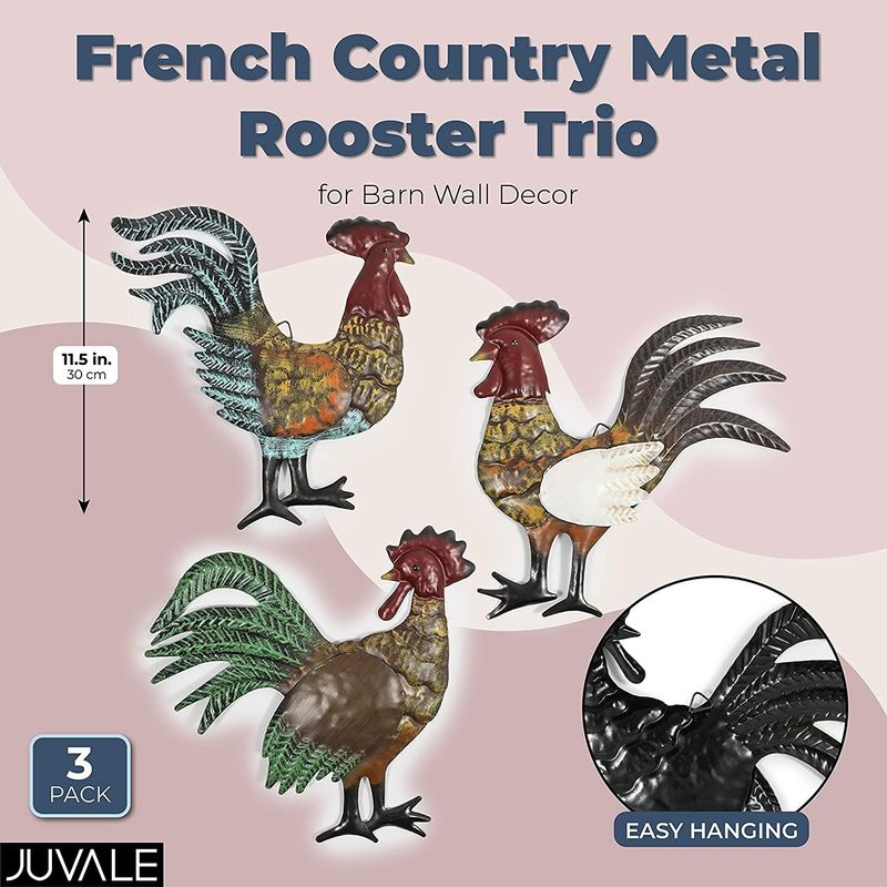 Farmlyn Creek French Country Metal Rooster Trio for Barn Wall Decor (11.5 in, 3 Pack)