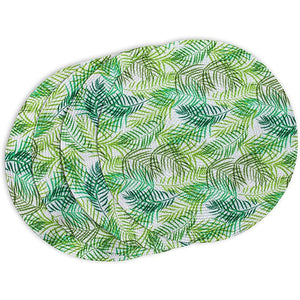 Indoor Outdoor Fern Leaf Placemat Set, Round Green Braided Placemats (15 in, 4 Pack)