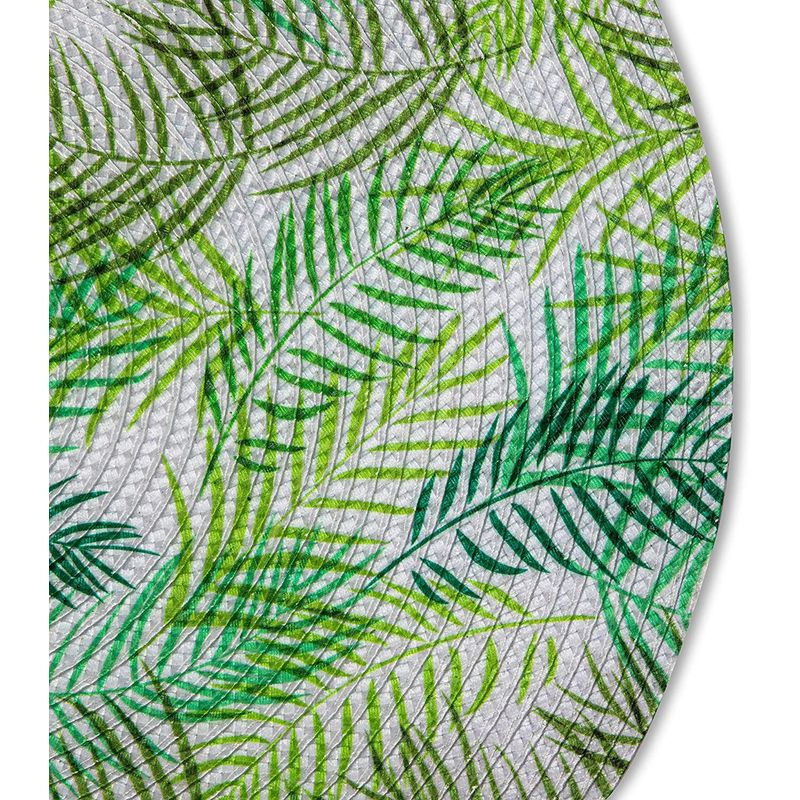 Farmlyn Creek Fern Leaf Placemat Set, Round Green Woven Dining Mats (15 in, 4 Pack)