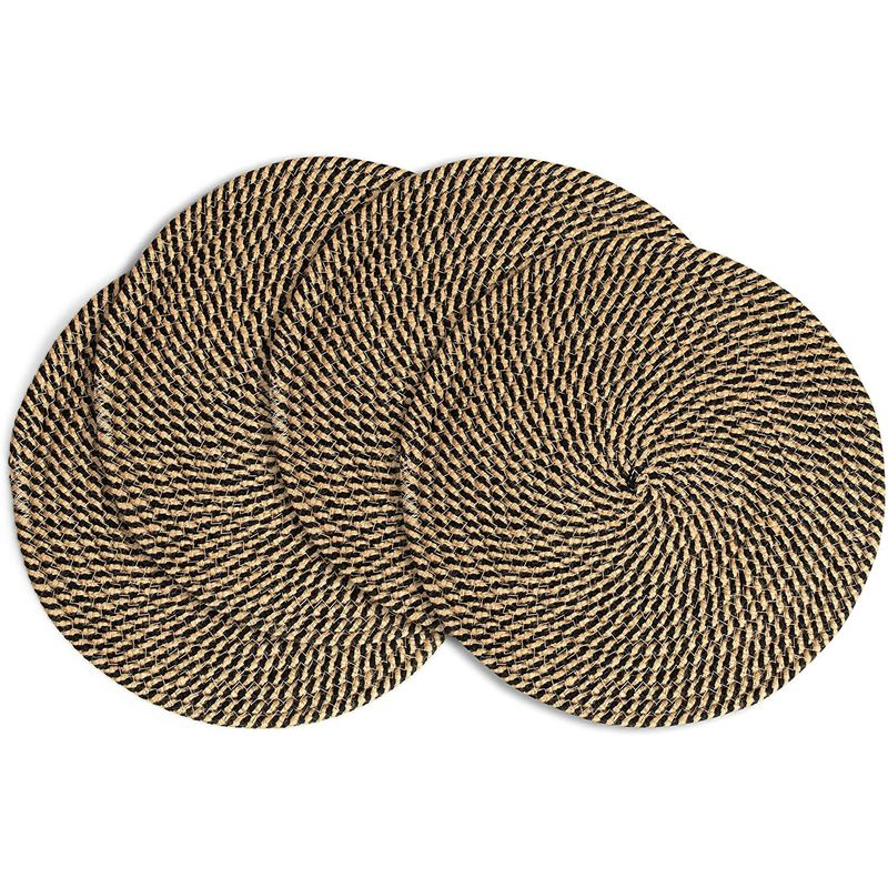 Farmlyn Creek Round Jute Placemats for Dining Table (13 Inches, 4 Pack)