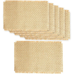 Farmlyn Creek Natural Jute Placemats for Dining Table (17.75 x 12 Inches, 6 Pack)