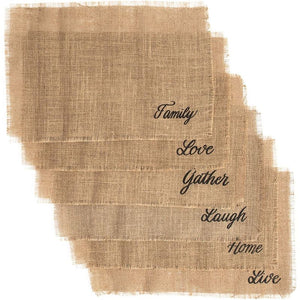 Woven Jute Placemats, Love, Live, Laugh, Home, Gather, Family (18 x 12 in, 6 Pack)