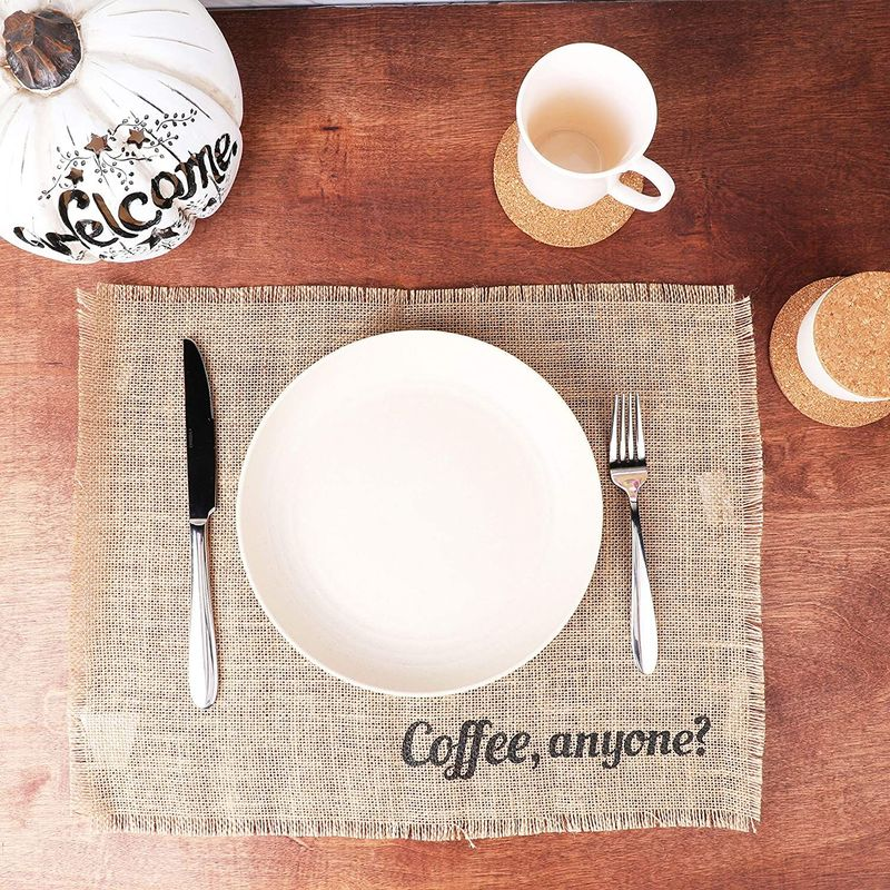 Farmlyn Creek Woven Burlap Placemat, Coffee, Anyone (17.7 x 13.8 Inches)