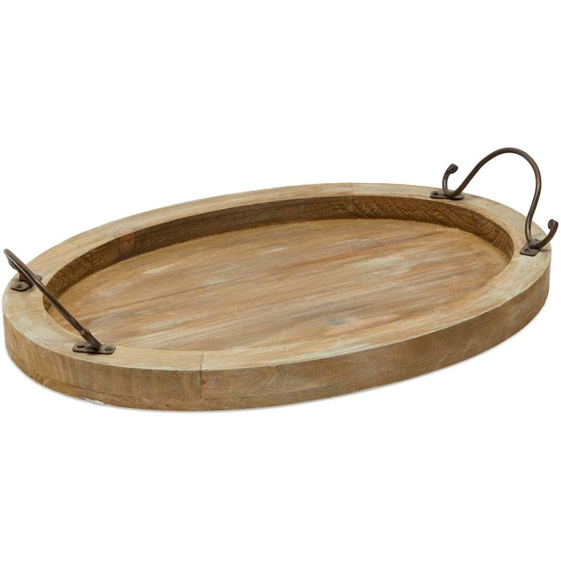 Oval Coffee Table Serving Tray, Wood Farmhouse Decor (16 x 11 x 2 Inches)