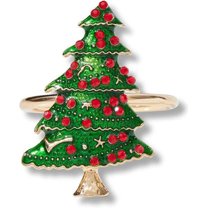 Farmlyn Creek Christmas Tree Napkin Rings Set (1 x 2 in, 6 Pack)