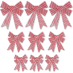 Bows for Gift Wrapping, White and Red Striped Bow (3 Sizes, 9 Pack)