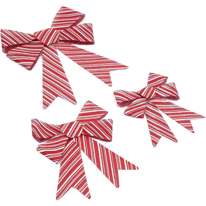 Red Christmas Bows, White Stripes (3 Sizes, 9 Pack)