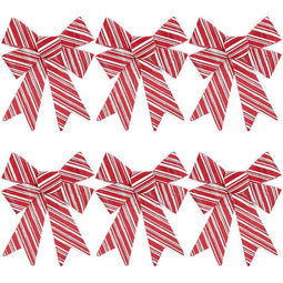 Red Christmas Bows for Gift Wrapping, Candy Cane Stripes (7 x 9 in, 6 Pack)