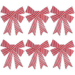 Bows for Gift Wrapping, White and Red Striped Bow (11 x 15 in, 6 Pack)