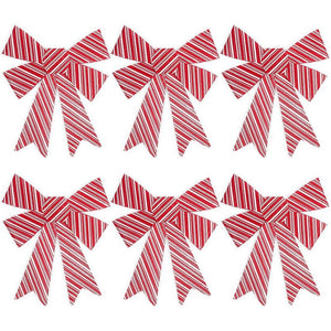 Red Christmas Bows for Gift Wrapping, White Stripes (11 x 15 In, 6 Pack)