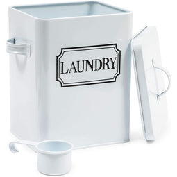 White Laundry Detergent Container with Scooper (7 x 9.25 x 6 In)