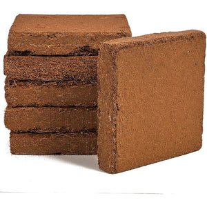 Compressed Square Coco Fiber Substrate, Natural Coir (7 x 7 In, 6 Pack)