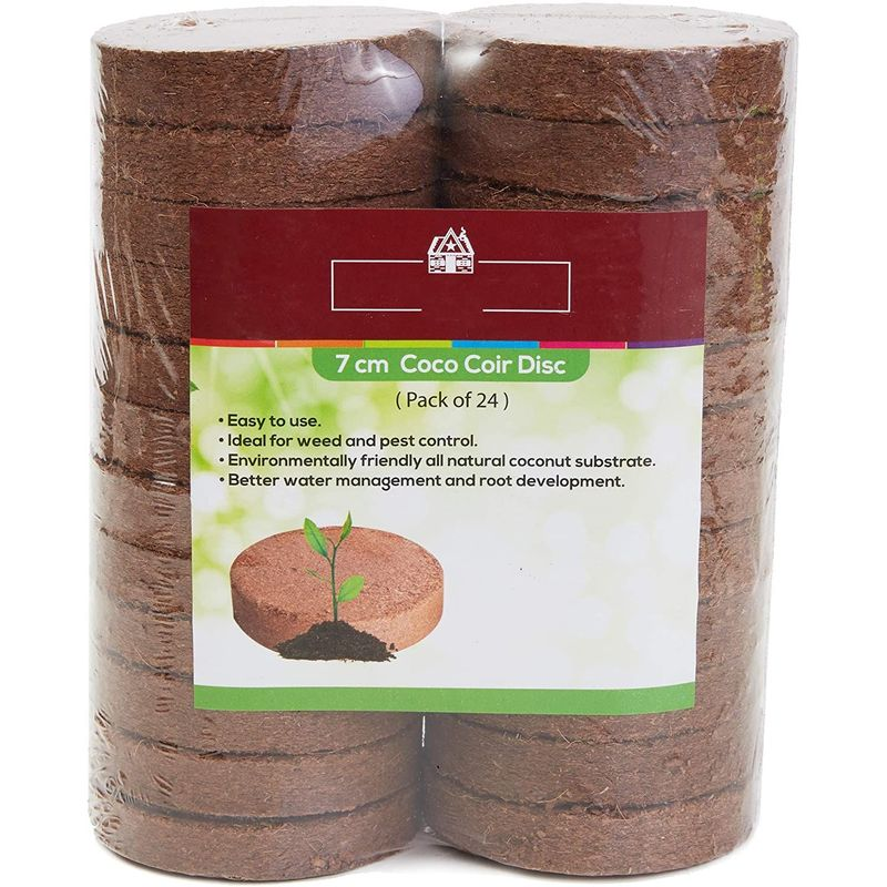 Coco Coir Seed Starter, Soil Disks (70 mm, 24 Pack)