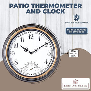 Farmlyn Creek Outdoor Clock and Temperature Gauge Thermometer for Patios, Pools (Black, 12 in)