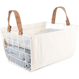 Metal Wire Storage Basket with Liner, Farmhouse Home Storage (13.1 x 9.75 x 7 in)