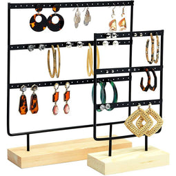 Farmlyn Creek Metal Earring Holder, Modern Jewelry Stand, 2 Sizes (Black, 2 Pieces)
