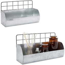 Metal Wall Shelves for Farmhouse Bathroom Decor, Kitchen, 2 Sizes (2 Pack)