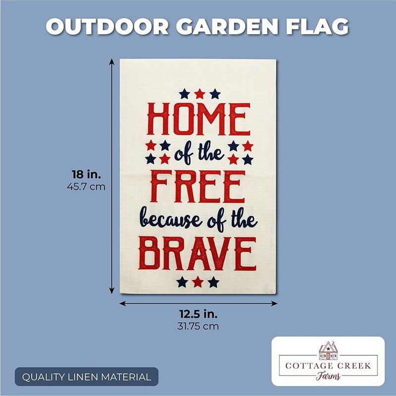 Fourth of July Outdoor Garden Flag for Summer, Home of the Free (12.5 x 18 In)
