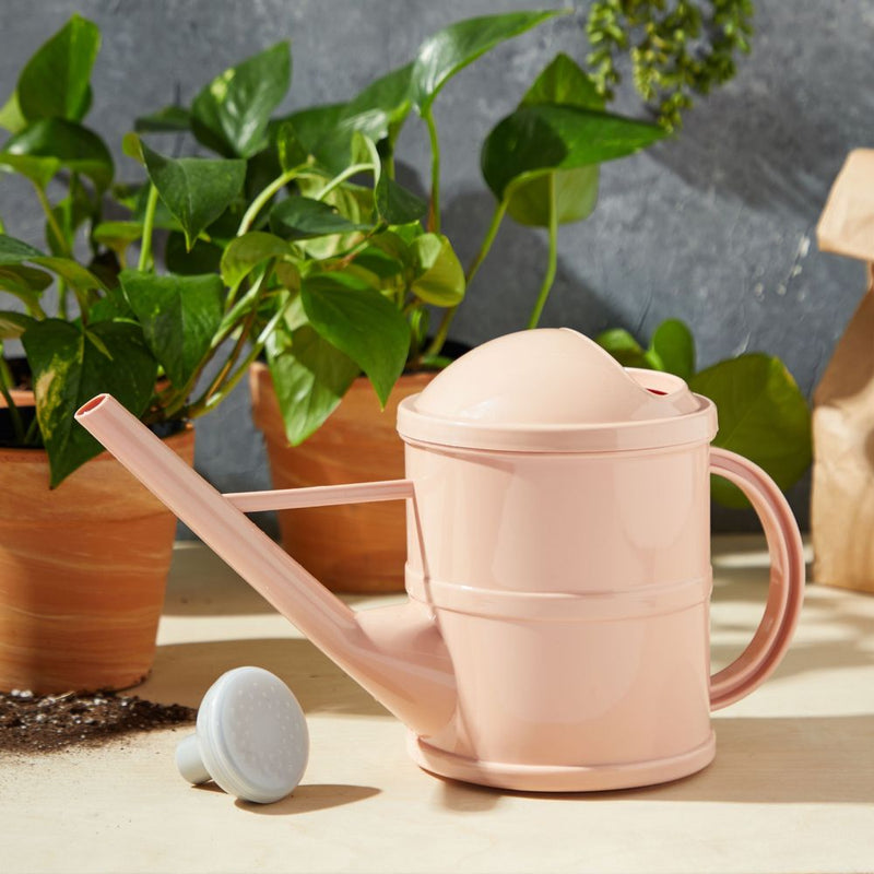 Watering Can with Handle for Indoor and Outdoor Plants, Light Pink Plastic (12 x 6.5 x 5 In, 3 qt)