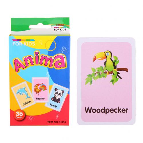 36Pcs/Set Cartoon Animal Color English Print Flash Paper Card Education Baby Toy kindergarten Primary school supplies New gift