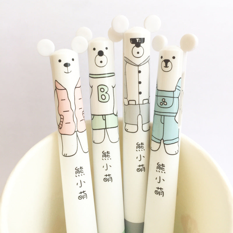 4 pcs/lot Lovely Bear Double Writing Press Ballpoint Pen 0.5 mm Mechanical Pencil School Office Supply Gift Stationery