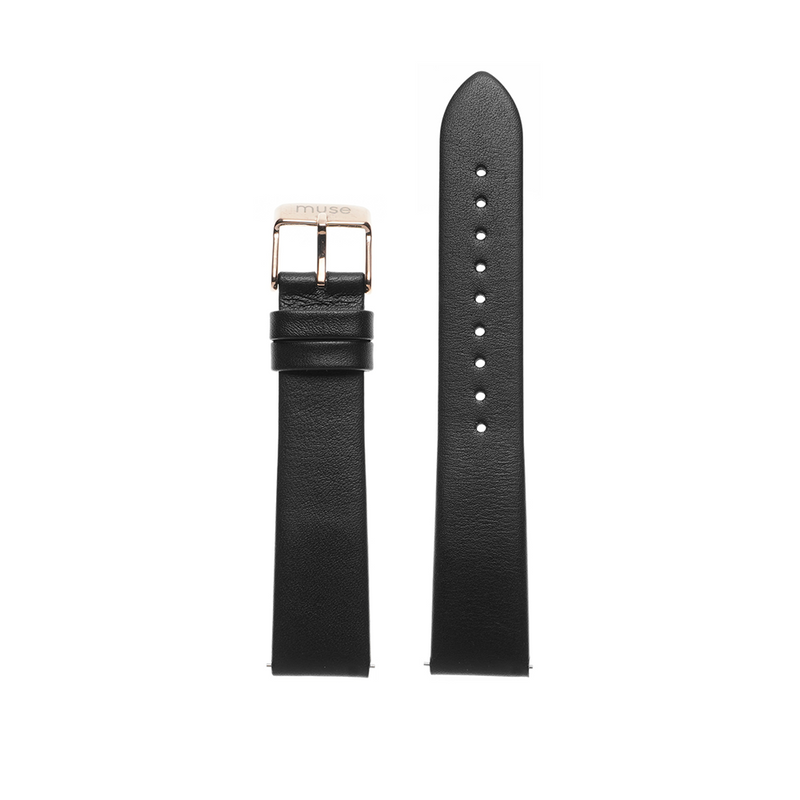 Foulard Black Leather Strap