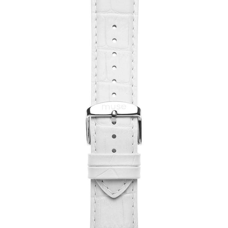 Alligator White Leather Strap