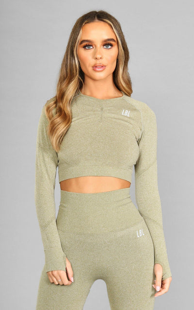 Alex Seamless Crop Top - Olive Green - Little By Little