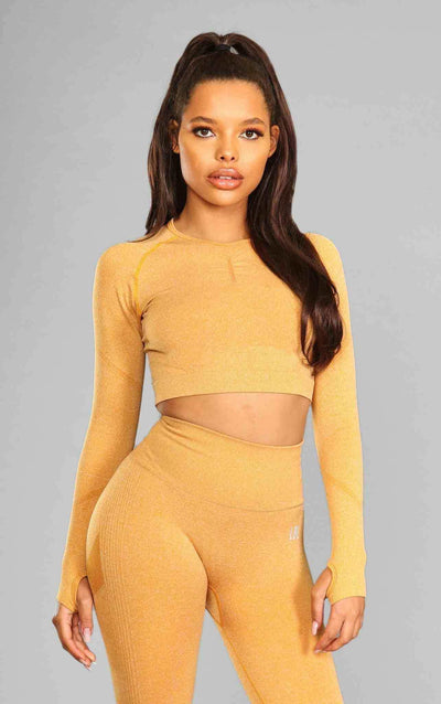 Alex Seamless Crop Top - Mustard - Little By Little