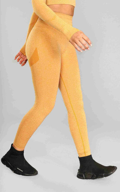 Alex Seamless Scrunch Leggings - Mustard - Little By Little