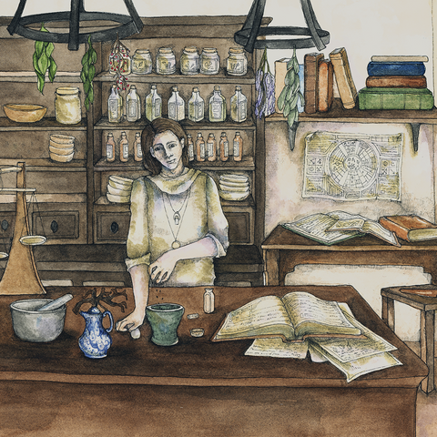 """The Apothecary's Assistant"" // Watercolor & Ink // 2014 // Archival Giclée Print"