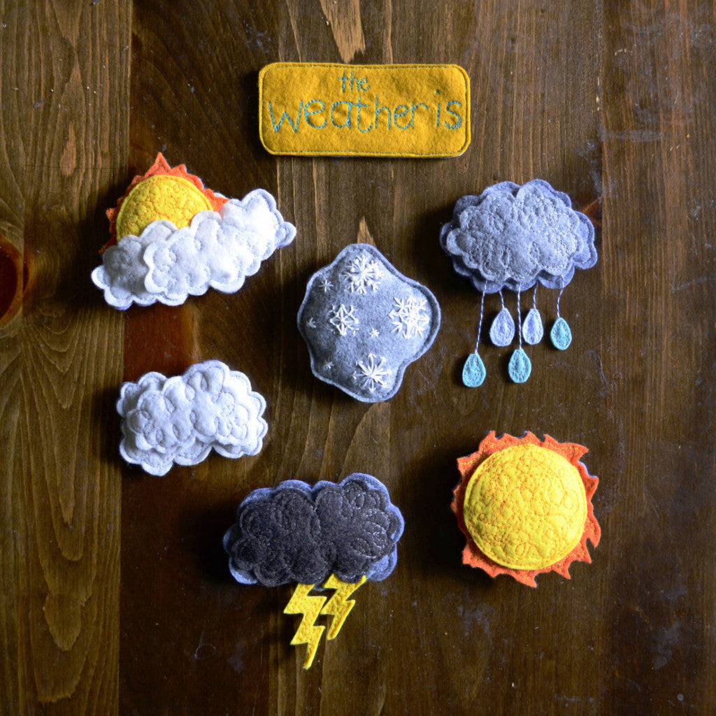 Today's Weather // Circle Time Set // Magnetic Wool Felt Weather Pieces - Handmade By Aly Parrott