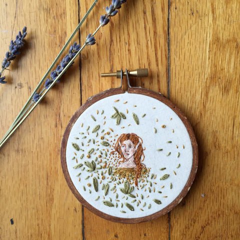 """Summer Fae"" // Hand-Embroidery // Hoop Art // 2016"