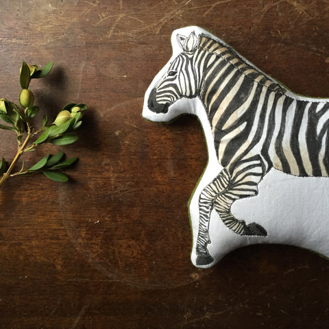 Grevy's Zebra // Hand Painted Embroidered Cotton Animal Toy