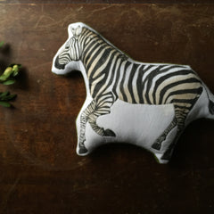 Grevy's Zebra // Hand Painted Embroidered Cotton Animal Toy - Handmade By Aly Parrott
