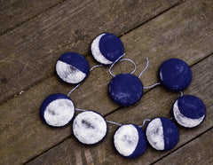 Needlefelted Phases of the Moon Garland - Handmade By Aly Parrott